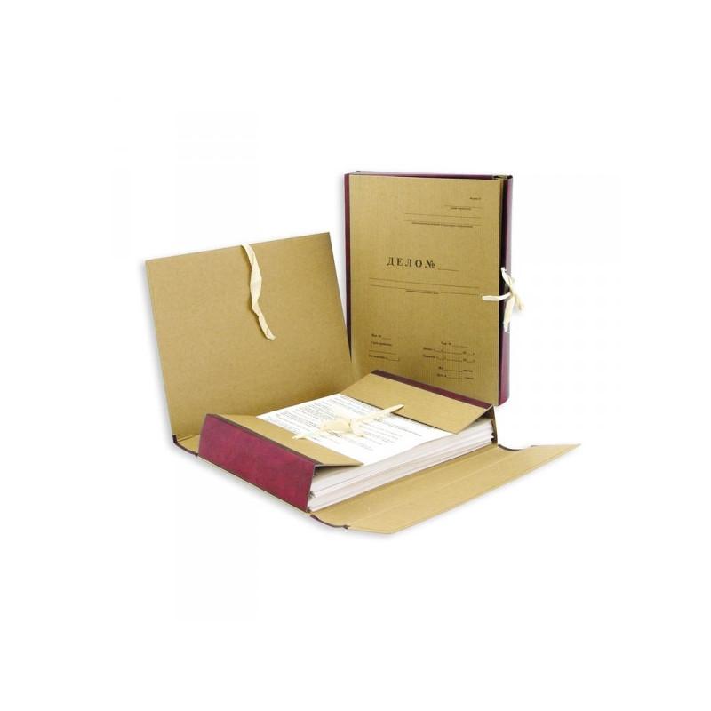 Папка архивная Дело крафт/бумвинил корешок 12 см 4 завязки красная