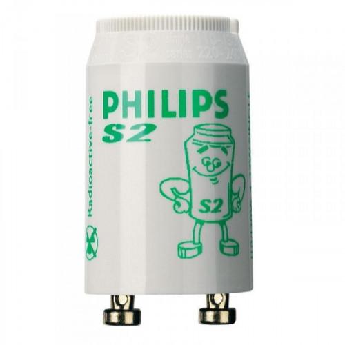 Стартер для люминесцентных ламп Philips S2 4-22 Вт 220-240 В 25 штук в упаковке двухламповая схема подключения