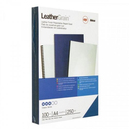 Обложки для переплета картонные 100 штук/упаковка голубые кожа, 250г/м2, А4