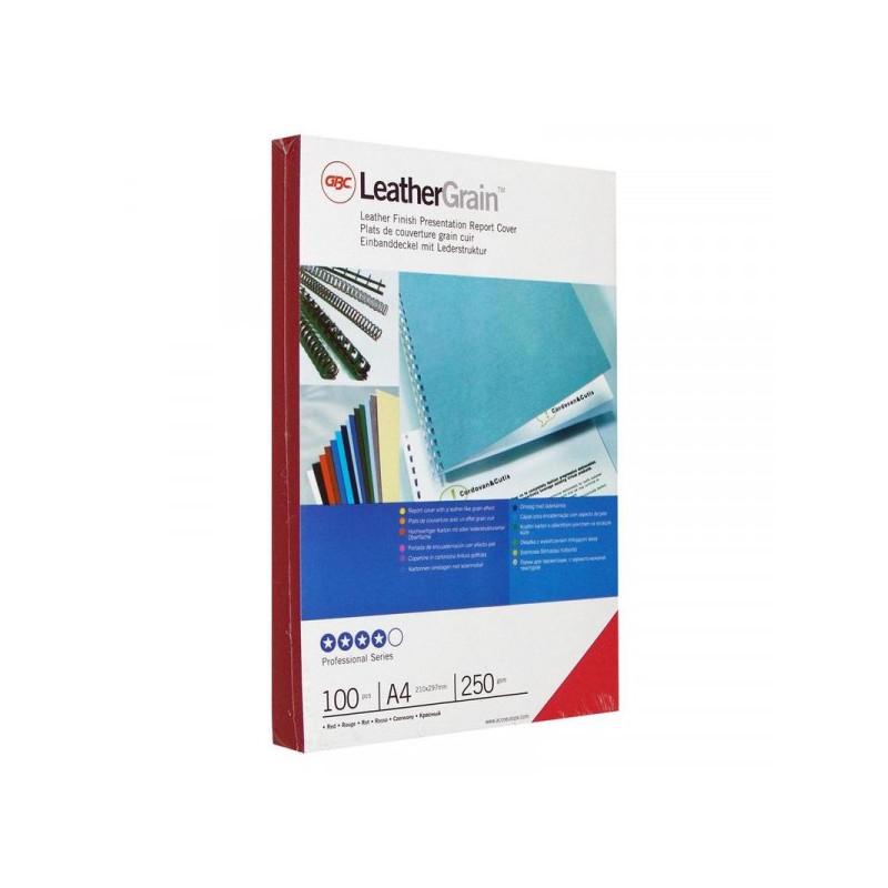 Обложки для переплета картонные 100 штук/упаковка красные кожа 250 г/м2 А4