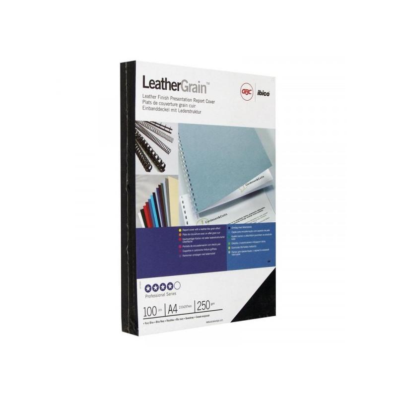 Обложки для переплета картонные 100 штук/упаковка темно-синие кожа 250 г/м2 А4
