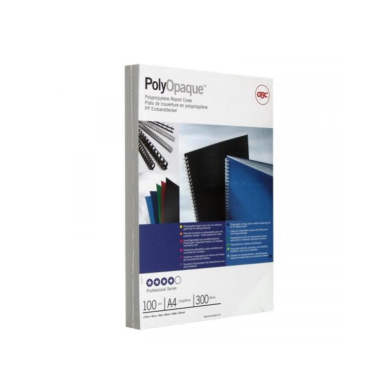 Обложки для переплета пластиковые непрозрачные белые 100 штук/упаковка А4 300 мкм