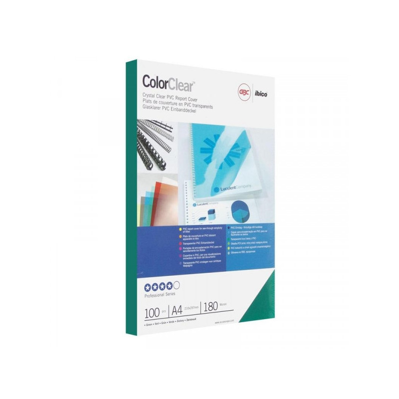 Обложки для переплета пластиковые прозрачные зеленые 100 штук/упаковка А4 180 мкм