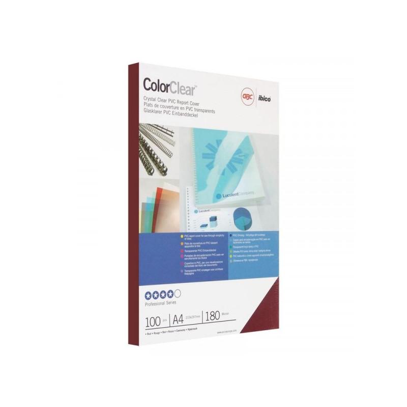 Обложки для переплета пластиковые прозрачные красные 100 штук/упаковка А4 180 мкм