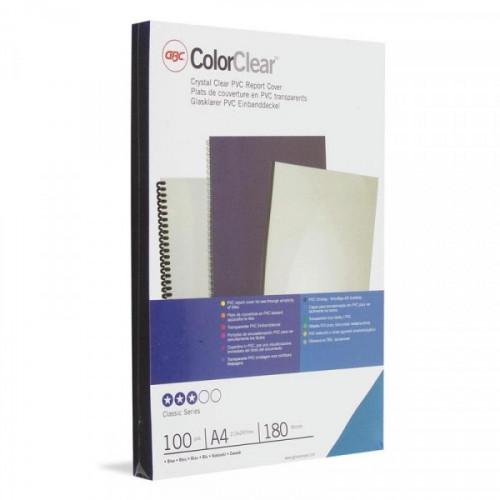 Обложки для переплета пластиковые прозрачные синие 100 штук/упаковка А4 180 мкм