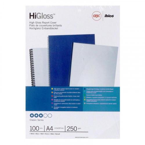 Обложки картонные глянцевые белые А4 100 штук/упаковка 250г/м