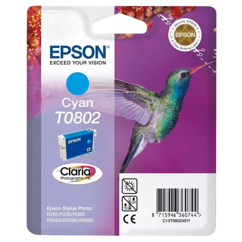 Картридж струйный Epson T0802 C13T08024011 голубой оригинальный