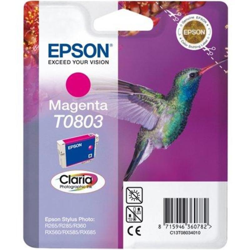Картридж струйный Epson T0803 C13T08034010/11 пурпурный оригинальный
