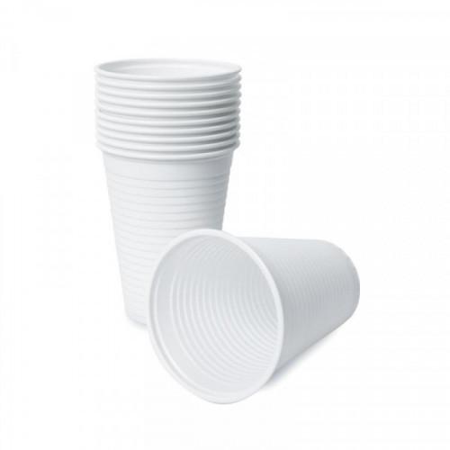 Стакан одноразовый пластиковый белый на 200 мл по 100 штук в упаковке