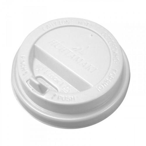 Крышка для стакана пластиковая с клапаном диаметром 80 мм белого цвета по 100 штук в упаковке