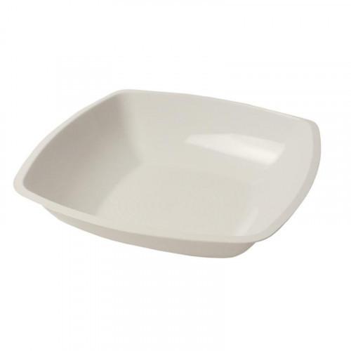 Тарелка одноразовая глубокая АВМ-Пластик пластиковая белая 18x18 см 12 штук