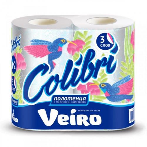 Полотенца бумажные Veiro Colibri с цветным тиснением трехслойные 2 рулона по 12,5 метра