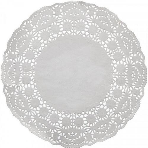 Салфетка бумажная ажурная Д26см 1-слойная белая 100 штук в упаковке