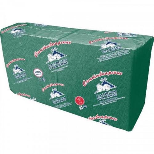 Салфетки бумажные 1-слойные Profi Pack 33х33 см зеленые 250 штук
