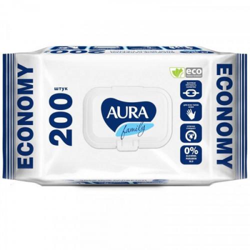 Салфетки влажные с крышкой Aura 200 штук в упаковке