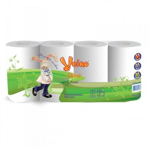 Бумага туалетная Veiro Classic 2-слойная белая 8 рул/уп