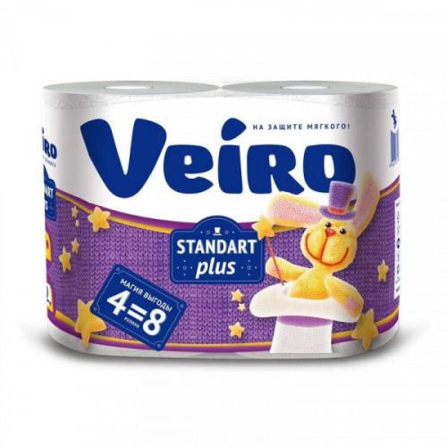 Бумага туалетная 2-слойная VEIRO белая с тиснением 4 рулона 3c24