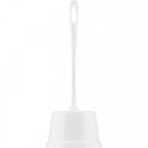 Ерш для туалета, напольный, открытый, подставка, цилиндр, пластик, белый, Luscan Супер Мини Практик