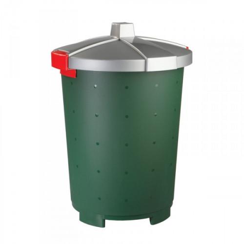 Бак 45 литров пластик зеленый для пищевых и не пищевых продуктов с крышкой-защелкой