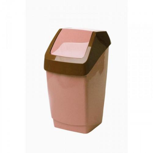 Урна 7 литров пластиковая с крышкой-вертушкой бежевый мрамор