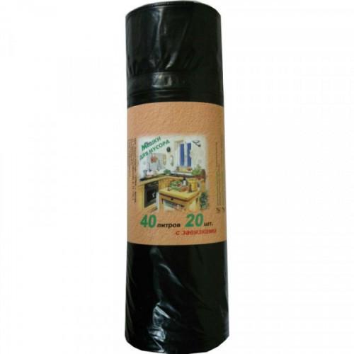 Пакеты для мусора 40л 55х70 см 30 мкм ВД с завязками