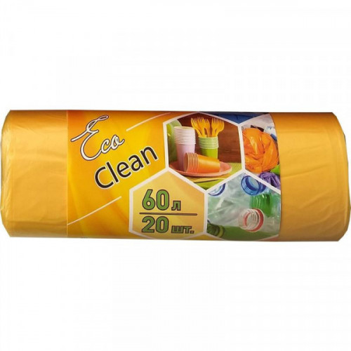 Пакеты для мусора, ПНД, 60 литров, 20 шт/рул, 10мкм, желтые, 58х68см, Eco Clean