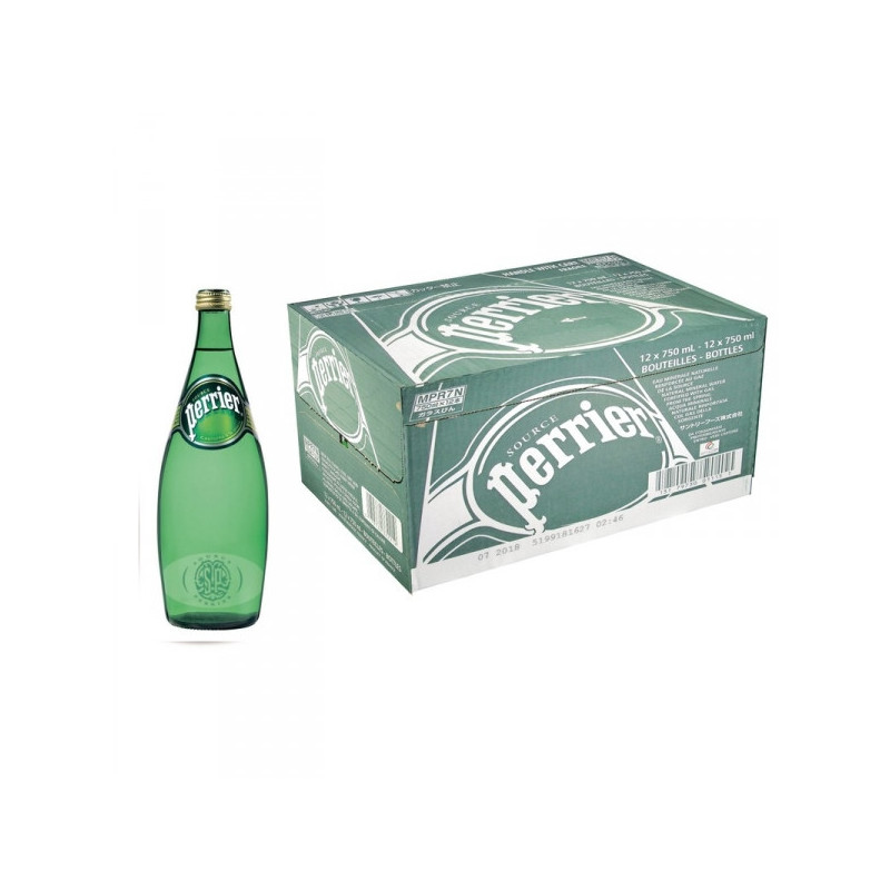 Вода минеральная Perrier газированная 0.75 литра 12 штук в упаковке