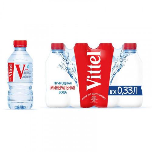 Вода минеральная Vittel 0,33 литра негазированная 8 штук в упаковке