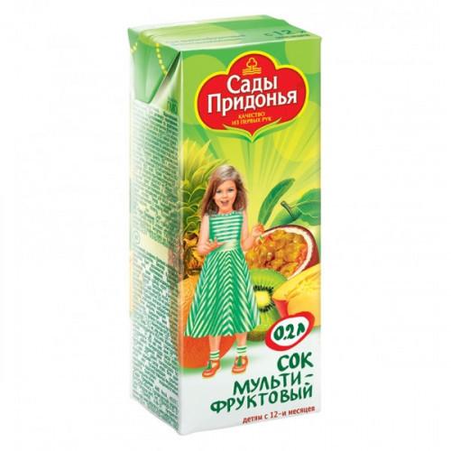 Сок Сады Придонья мультифрукт с мякотью 0.2 литра 27 штук в упаковке