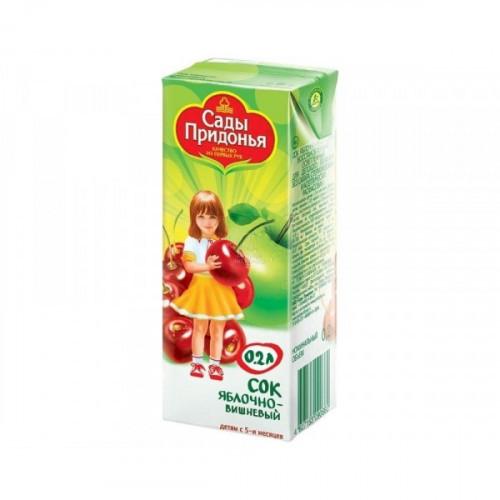 Сок Сады Придонья яблоко и вишня 0.2 литра 27 штук в упаковке
