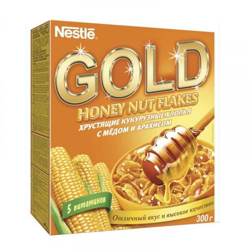 Хлопья Nestle Gold кукурузные с медом и арахисом 300 грамм