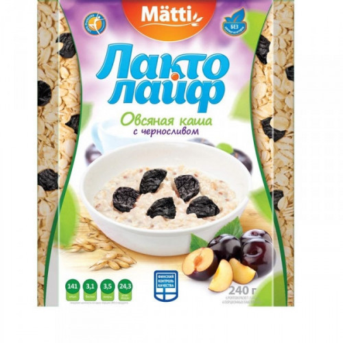 Каша Matti Лактолайф с Черносливом 6 штук по 40 грамм