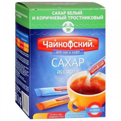 Сахар в стиках Чайкофский ассорти белый и тростниковый по 5 грамм 60 штук в упаковке