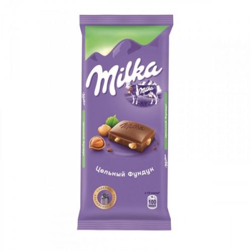 Шоколад Milka молочный с цельным фундуком 90 грамм