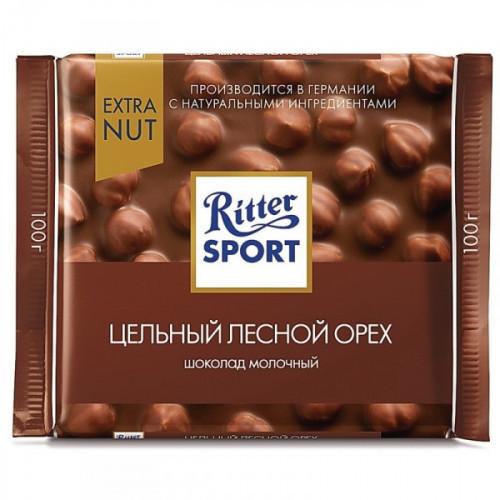 Шоколад Ritter Sport молочный с цельным лесным орехом 100 грамм