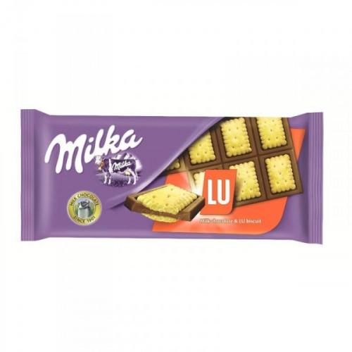 Шоколад Milka плитка молочный с печеньем LU 87 грамм