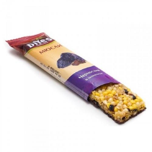 Батончик мюсли ДиYes чернослив в шоколаде 25 грамм