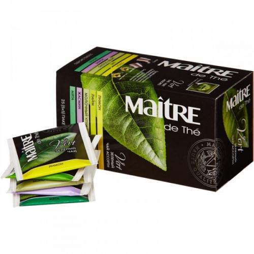 Чай Maitre de tea Vert зеленый ассорти 25 пакетиков