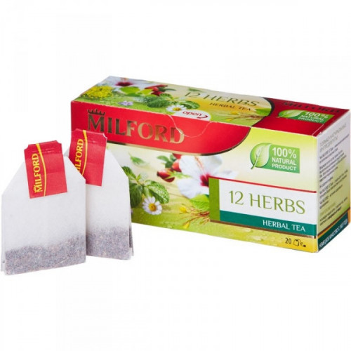 Чай Milford 12 herbs зеленый ассорти 20 пакетиков
