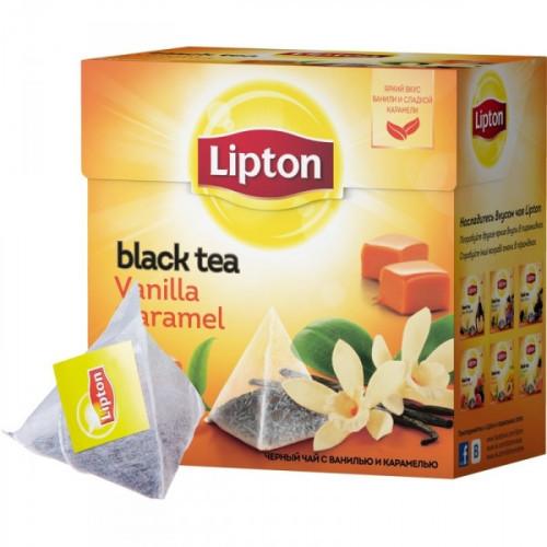 Чай Lipton Vanilla Caramel черный с карамелью 20 пакетиков