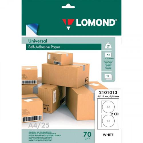 Самоклеящиеся этикетки для CD, D117/18 мм, 2 этикетки, белая, 70 г/м2, 25 л., LOMOND, 2101013