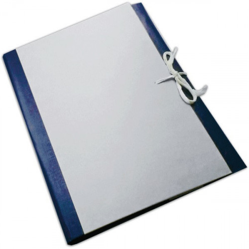 Короб архивный, корешок 80мм, картон/бумвинил, синий, 4 х/б завязками, складной, А4, deVENTE
