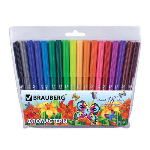 """Фломастеры BRAUBERG """"Wonderful butterfly"""", 18 цветов, вентилируемый колпачок, пластиковая упаковка, увеличенный срок службы"""