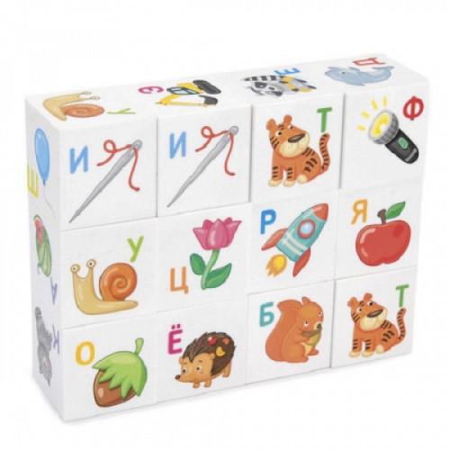 """Кубики пластиковые Для умников """"Азбука"""" 12 шт., 4х4х4 см, буквы/картинки на белых кубиках,10 КОР, 712"""