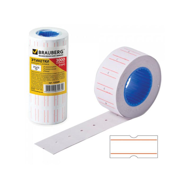 Этикет-лента 21х12 мм, прямоугольная, белая, комплект 5 рулонов по 600 шт., BRAUBERG