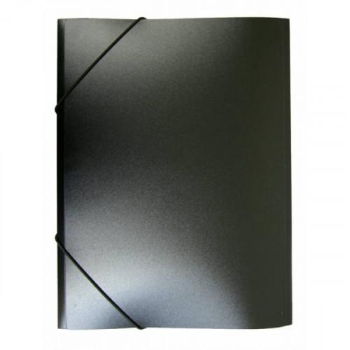 Папка на резинке непрозрачная черная А4 пластик 0.50 мм