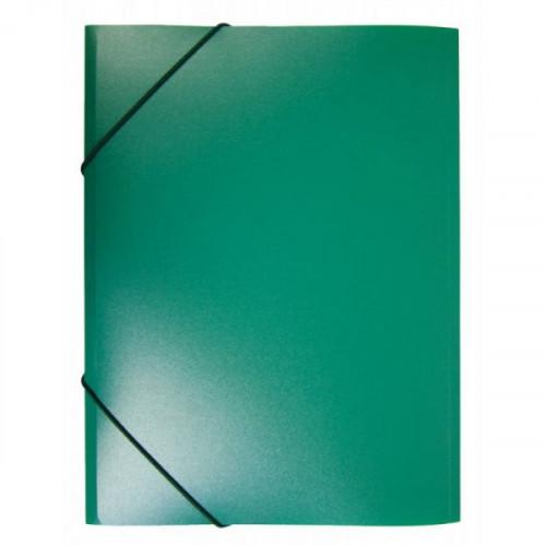 Папка на резинке непрозрачная зеленая А4 пластик 0.40 мм