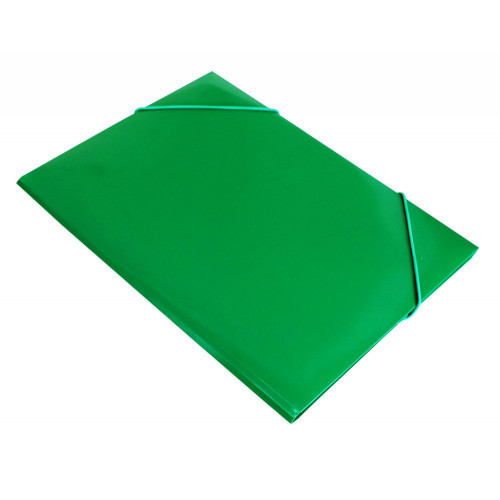 Папка на резинке непрозрачная зеленая А4 пластик 0.50 мм