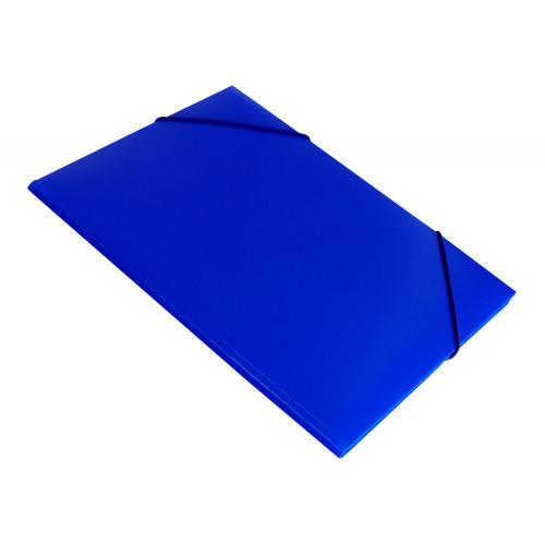 Папка на резинке непрозрачная синяя А4 пластик 0.50 мм