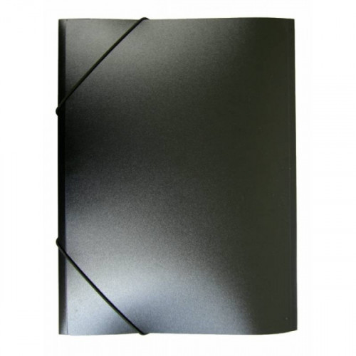 Папка на резинке непрозрачная черная А4 пластик 0.40 мм